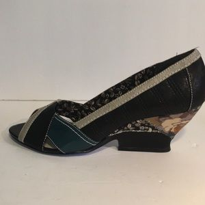 Bobbi Blu Patchwork Wedge Peep Toe Leather Sz 10M